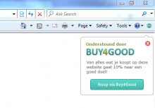 This plugin for Internet Explorer, Firefox and Chrome gives you discounted prices when you visit a website that participates in the Buy4Good program. Just open a site, and if it has any active discounts our popup will show up in the browser. With a click of a button you enjoy discounted prices when you buy online from the site.